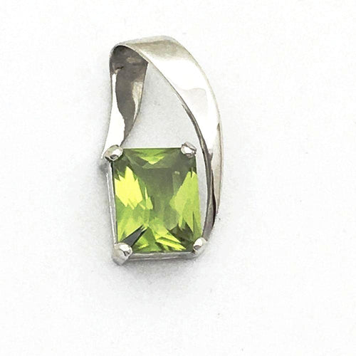 14K White Gold Genuine 3.3 ct. Peridot Pendant NWT $750