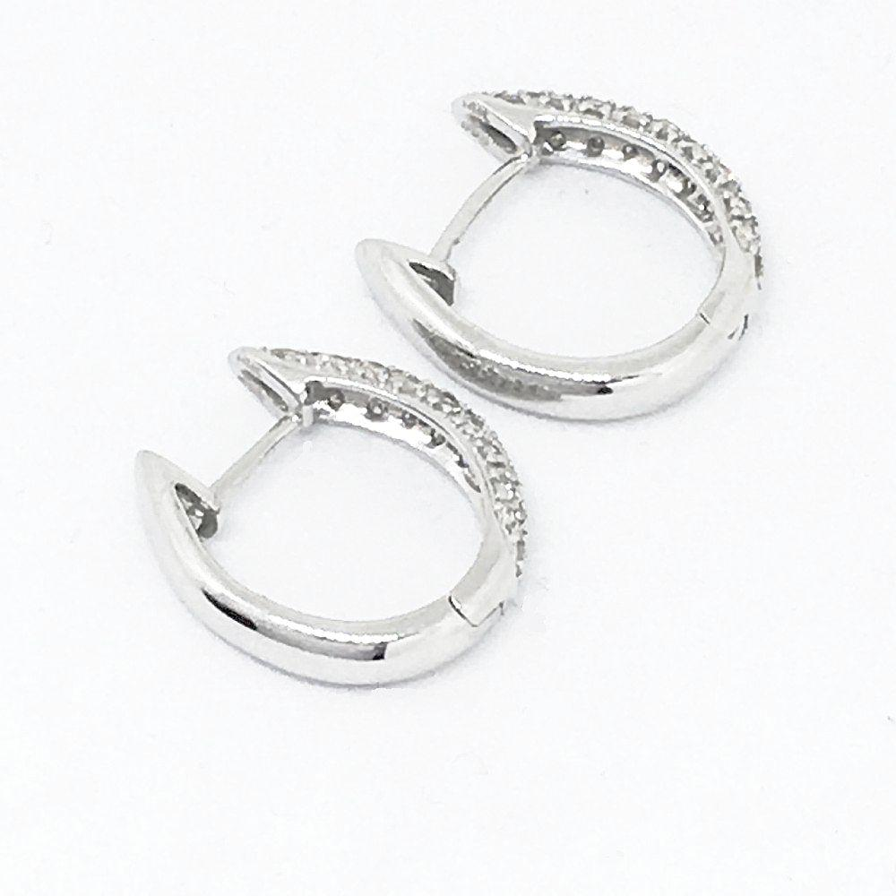 14K White Gold Genuine Diamond Hoop Earrings NWT $1036