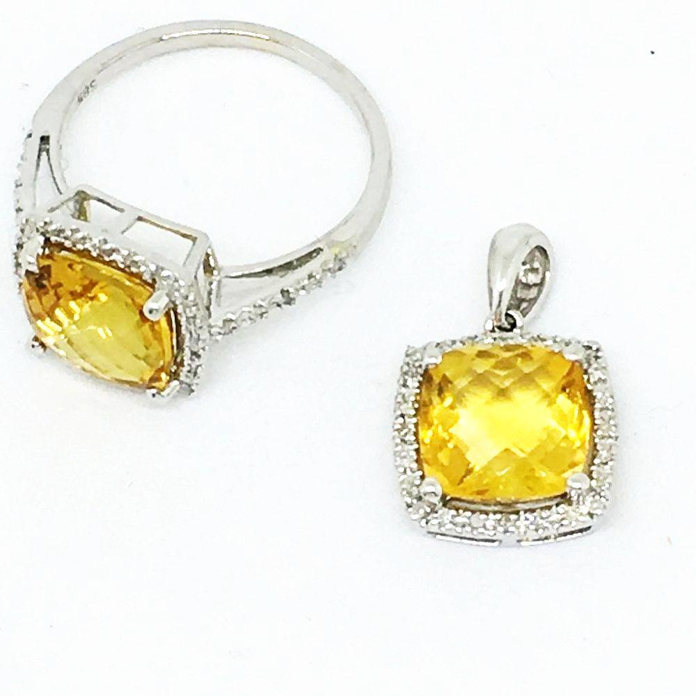14K White Gold Genuine Citrine/Diamond Ring & Pendant Set NWT $1190