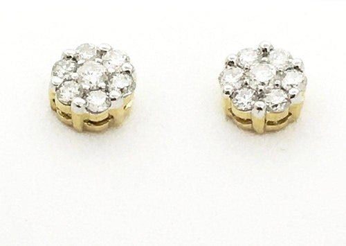 14K Yellow Gold 0.5 cttw Genuine Diamond Post Earrings NWT $1145