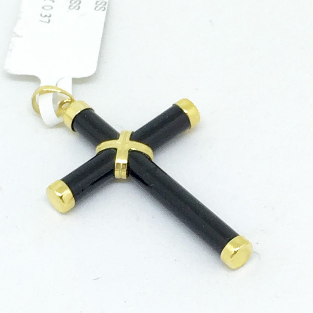 14K Yellow Gold & Onyx Cross Pendant NWT $120