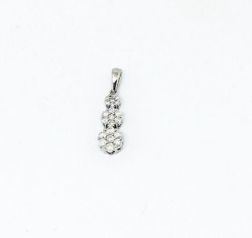 14K White Gold Flower Cluster Diamond Pendant NWT $1145