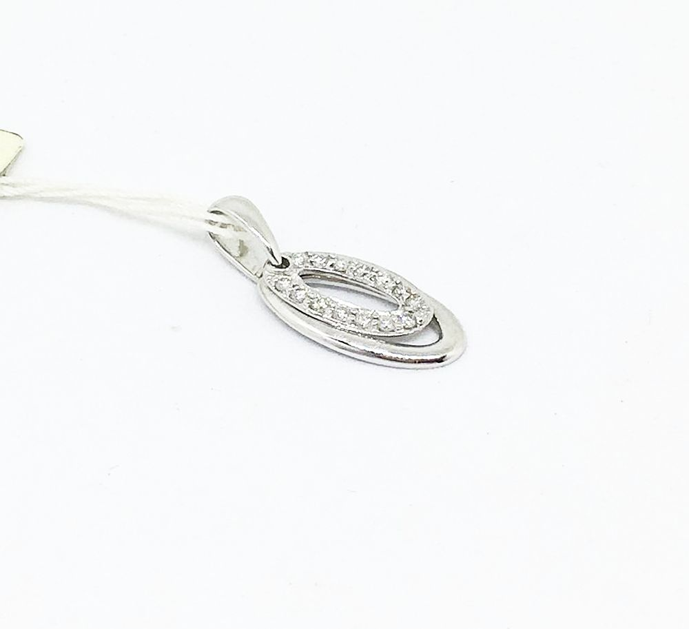 18K White Gold Diamond Oval Pendant NWT $580
