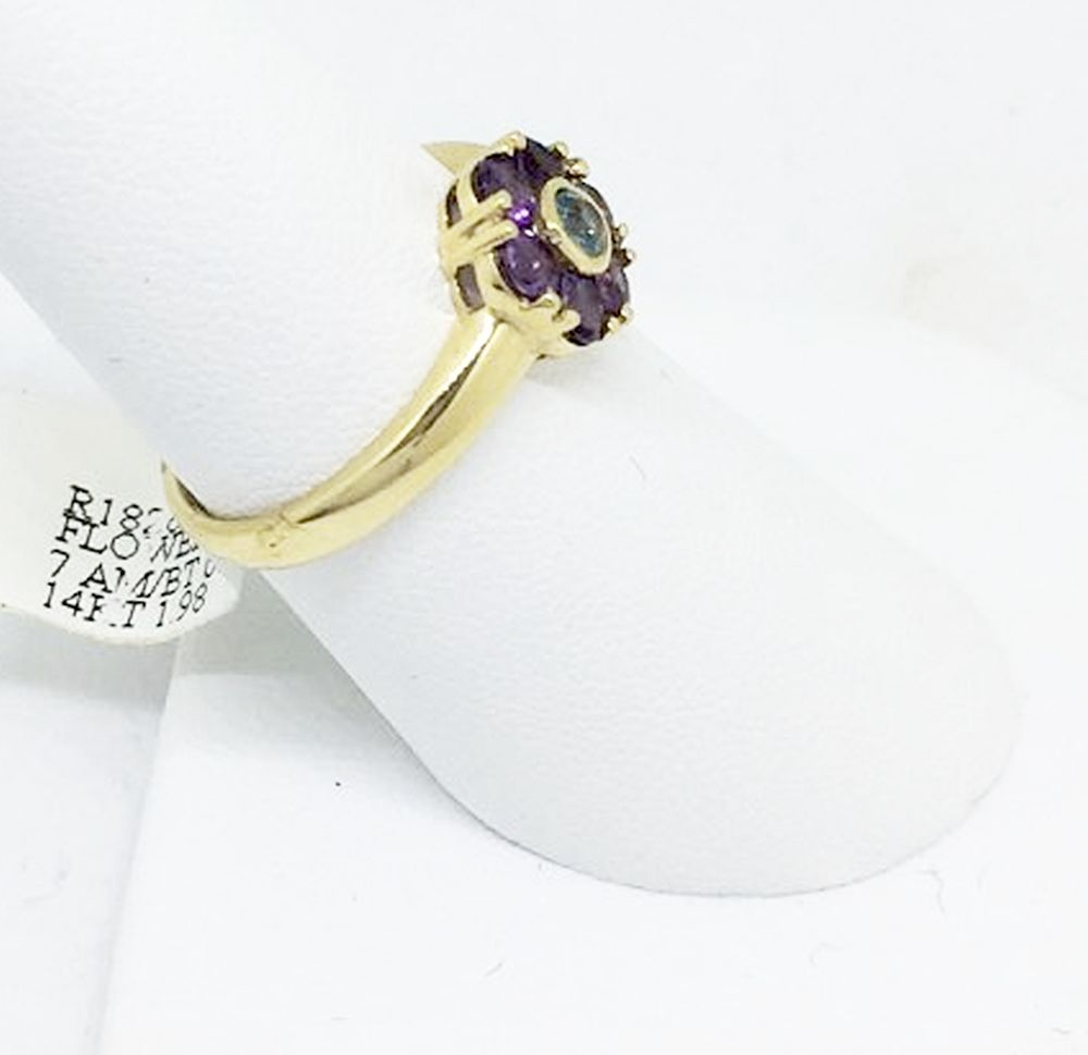 14K Yellow Gold Amethyst & Blue Topaz Ring NWT $330