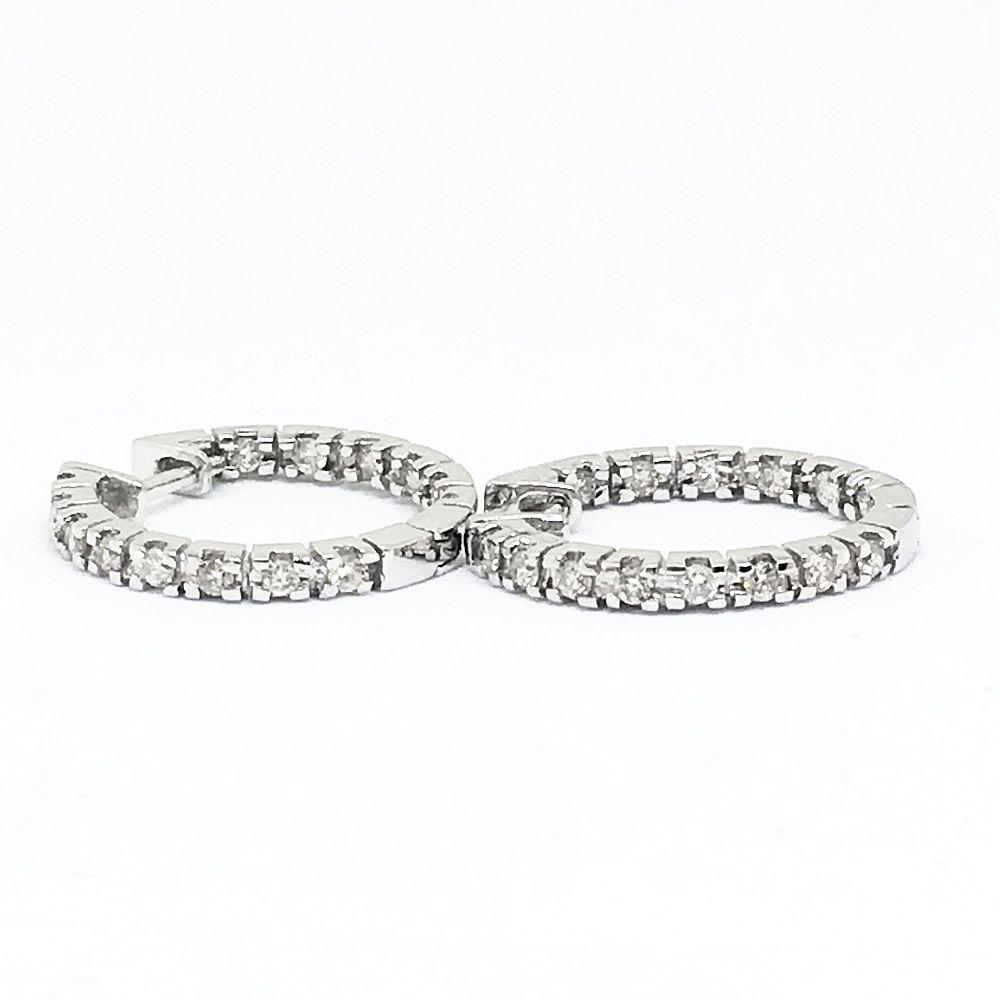 14K .42 cttw white gold diamond hoop earrings, NWT $1400