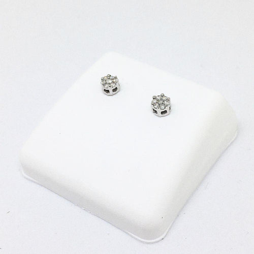 14K white gold & genuine .08 cttw diamond post earrings NWT $395