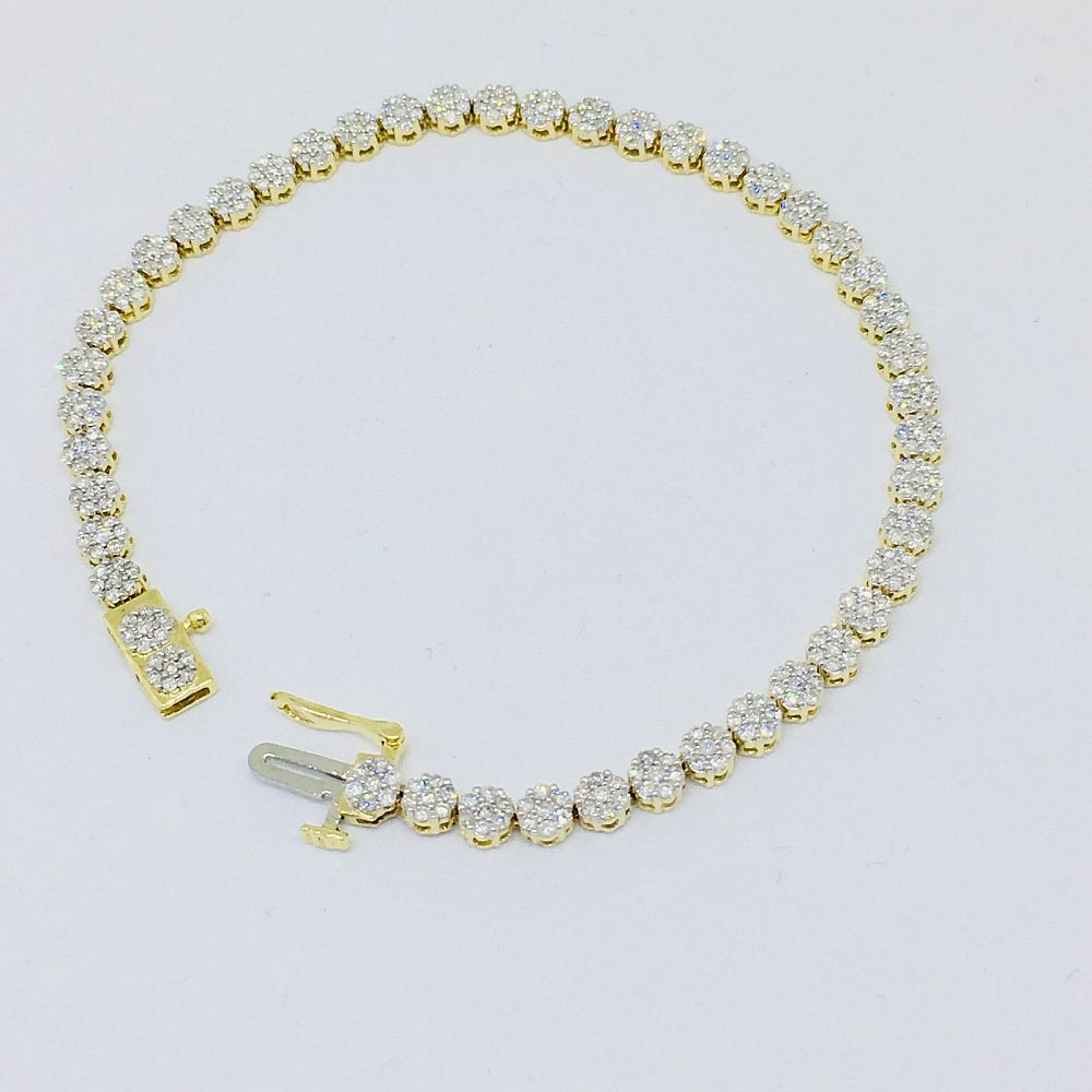 Genuine 2.0 cttw Diamond & 14K yellow gold Tennis Bracelet 7 inches NWT $4995