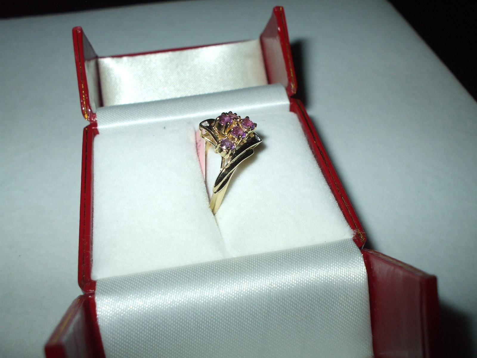 Genuine 1.20 ct Amethyst and Diamond Ring 14K yellow gold NWT $800