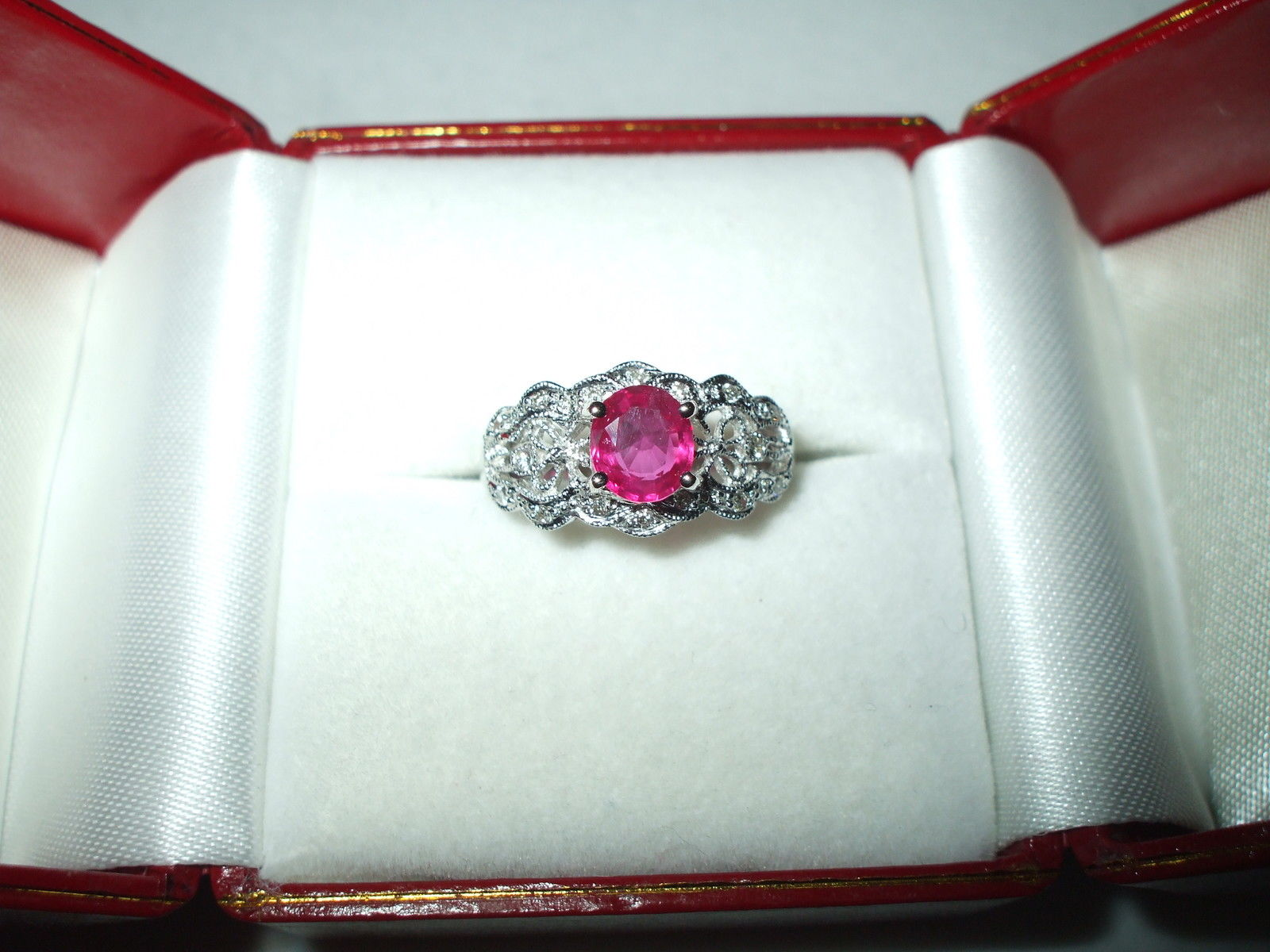 1 ct Genuine Ruby & Diamond Ring 18K white gold NWT $3500