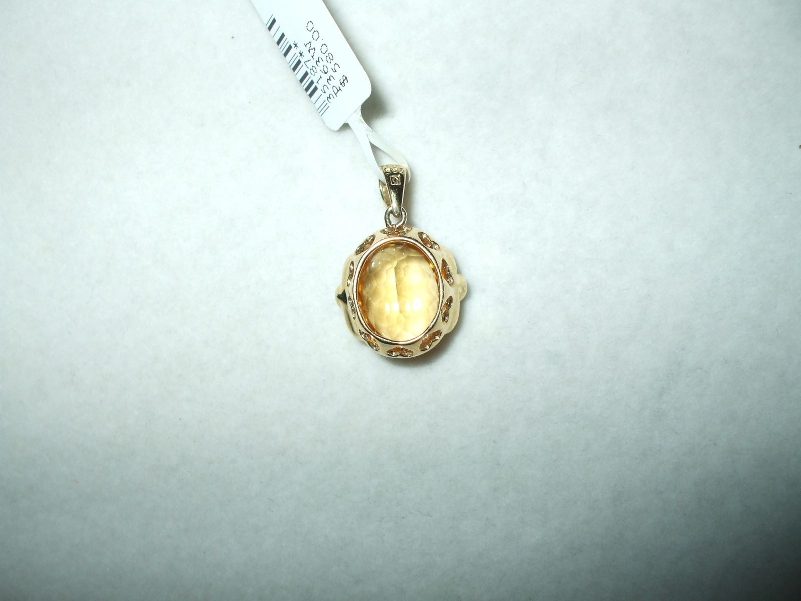 Genuine 4.48 ct. Citrine and Diamond yellow gold Pendant NWT $580