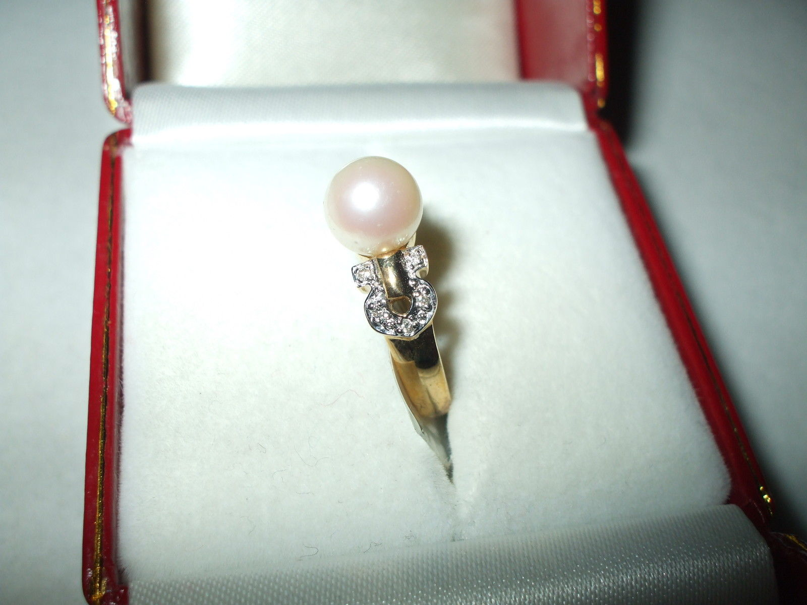 Pearl & Diamond Ring 14K yellow gold $520 NWT