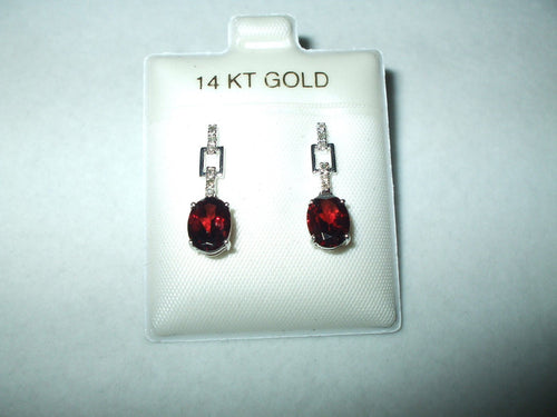 Genuine 2.84 cttw Garnet & Diamond 14K white gold Earrings  NWT $700