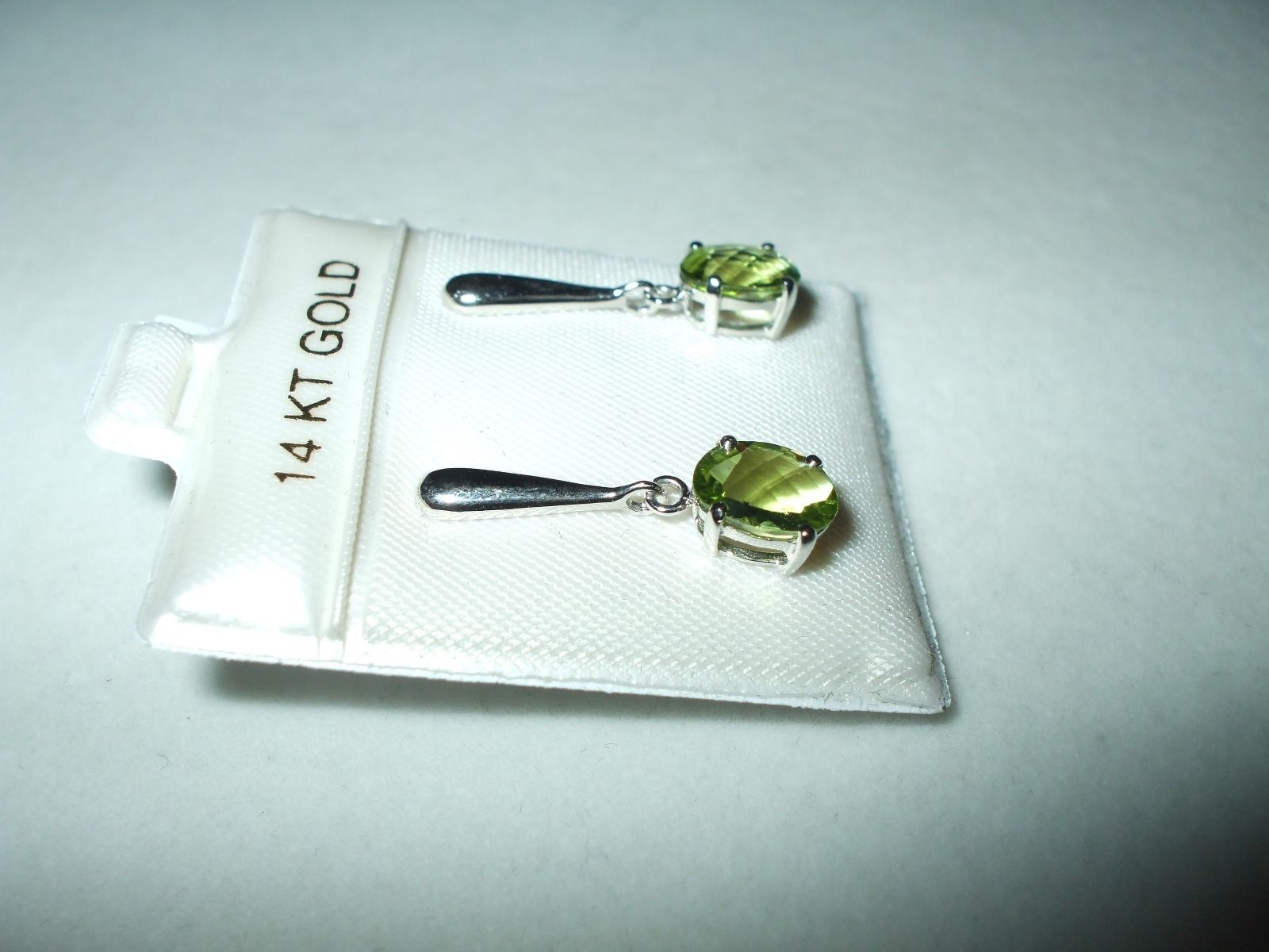 Genuine Peridot Dangle Earrings 2.7 ct 14K white gold $580