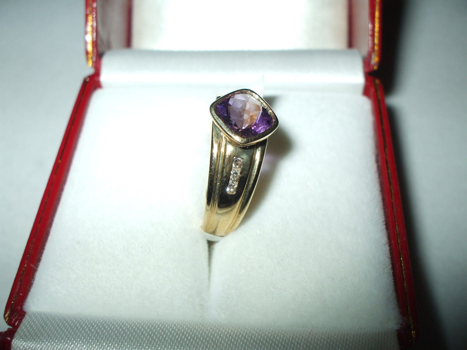 Genuine 1.31 ct Amethyst and Diamond Ring 14K yellow gold NWT $740