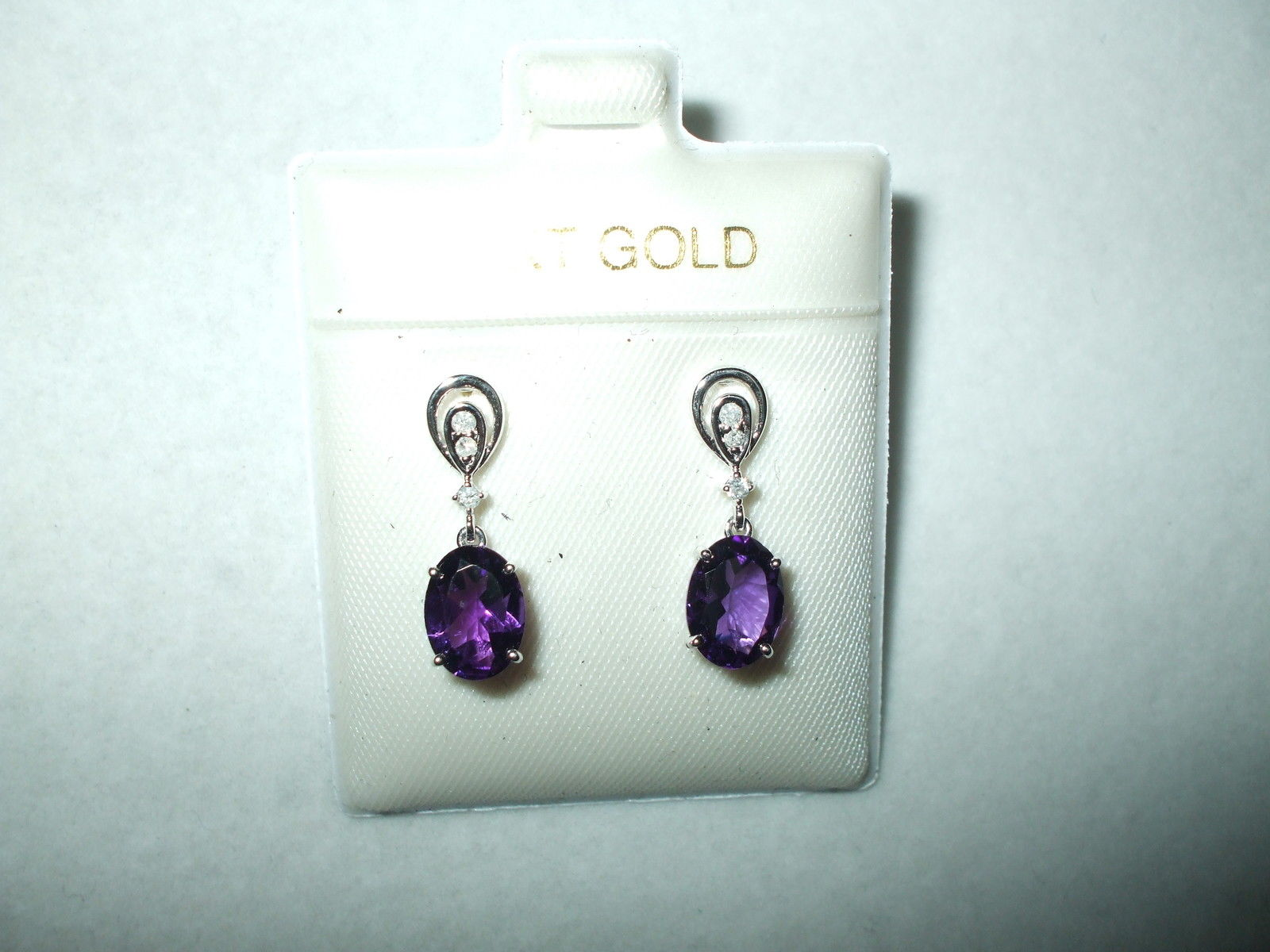 Genuine Amethyst & Diamond 14K white gold Earrings  NWT $760