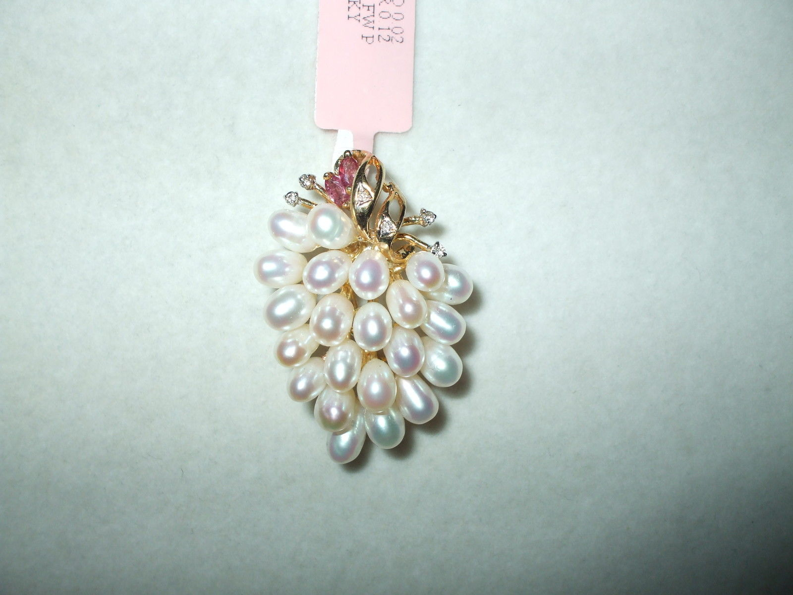 Genuine Freshwater Pearl, Ruby & Diamond Pin 14K yellow gold $1400