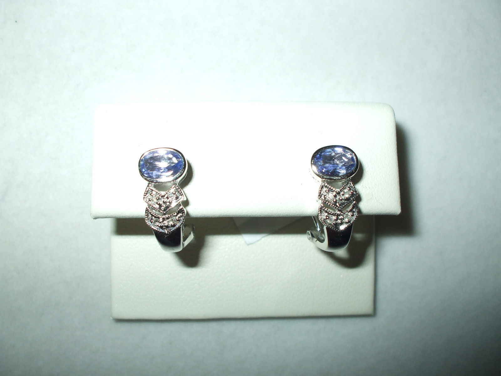 Genuine Tanzanite & Diamond French Clip Earrings 14K white gold NWT $1200