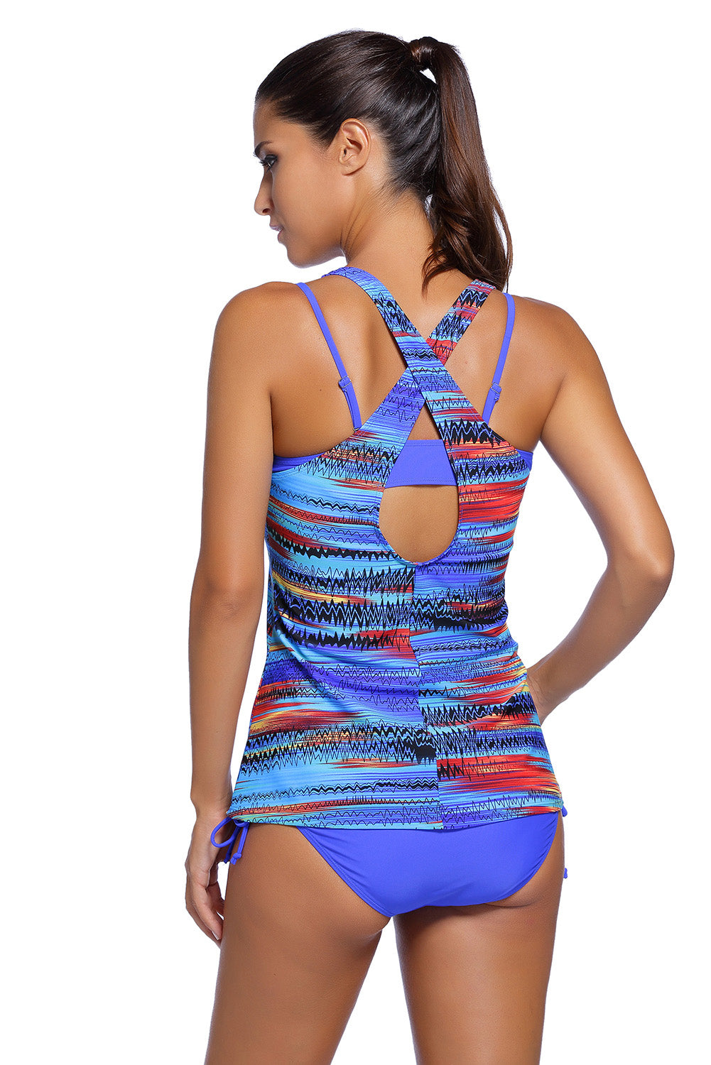 Blue Bandeau Bikini Swimsuit Printed Vest Tunic