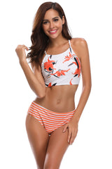 Floral High Neck Bikini Striped High Waist Swimsuit