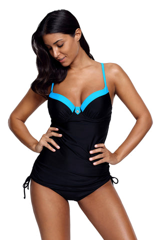 Black Pin up Blue Bustline Tankini