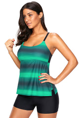 Greenish Strappy Hollow-out Back Tankini