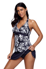 Navy White Floral V-neck Tankini Wrapped Skirt Swimsuit