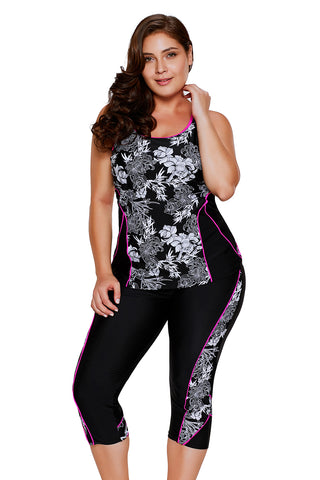 Carved Flowery Print Black Tankini and Capris Set