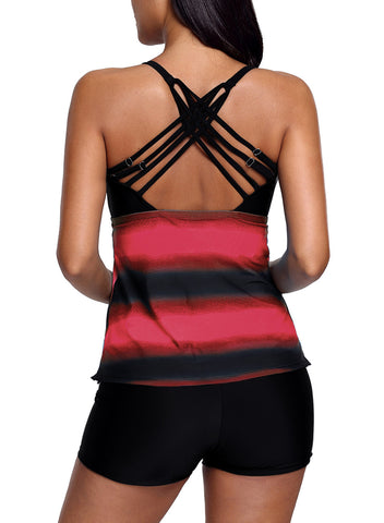 Rosy Strappy Hollow-out Back Tankini