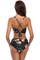 Fruity Print High Neck Cropped Tankini Swimsuit