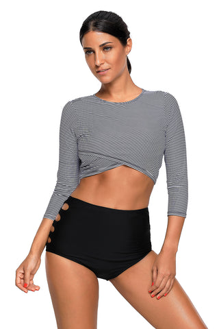 Long Sleeve Striped Crop Top High Waist Bottom Tankini Set