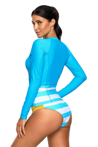 Blue White Contrast Long Sleeved Zip Rashguard Swimsuit