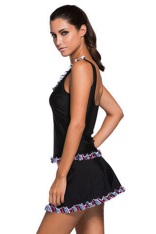 Ruffle Trim Black Active Tank Top and Skort Swimsuit