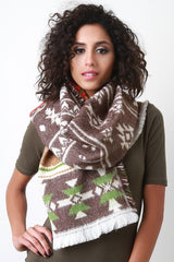 Multicolor Tribal Knit Scarf