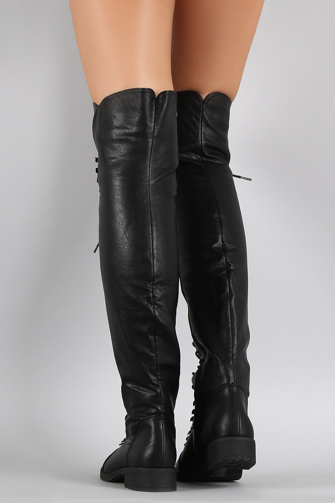 Combat Lace Up Over-The-Knee Boots