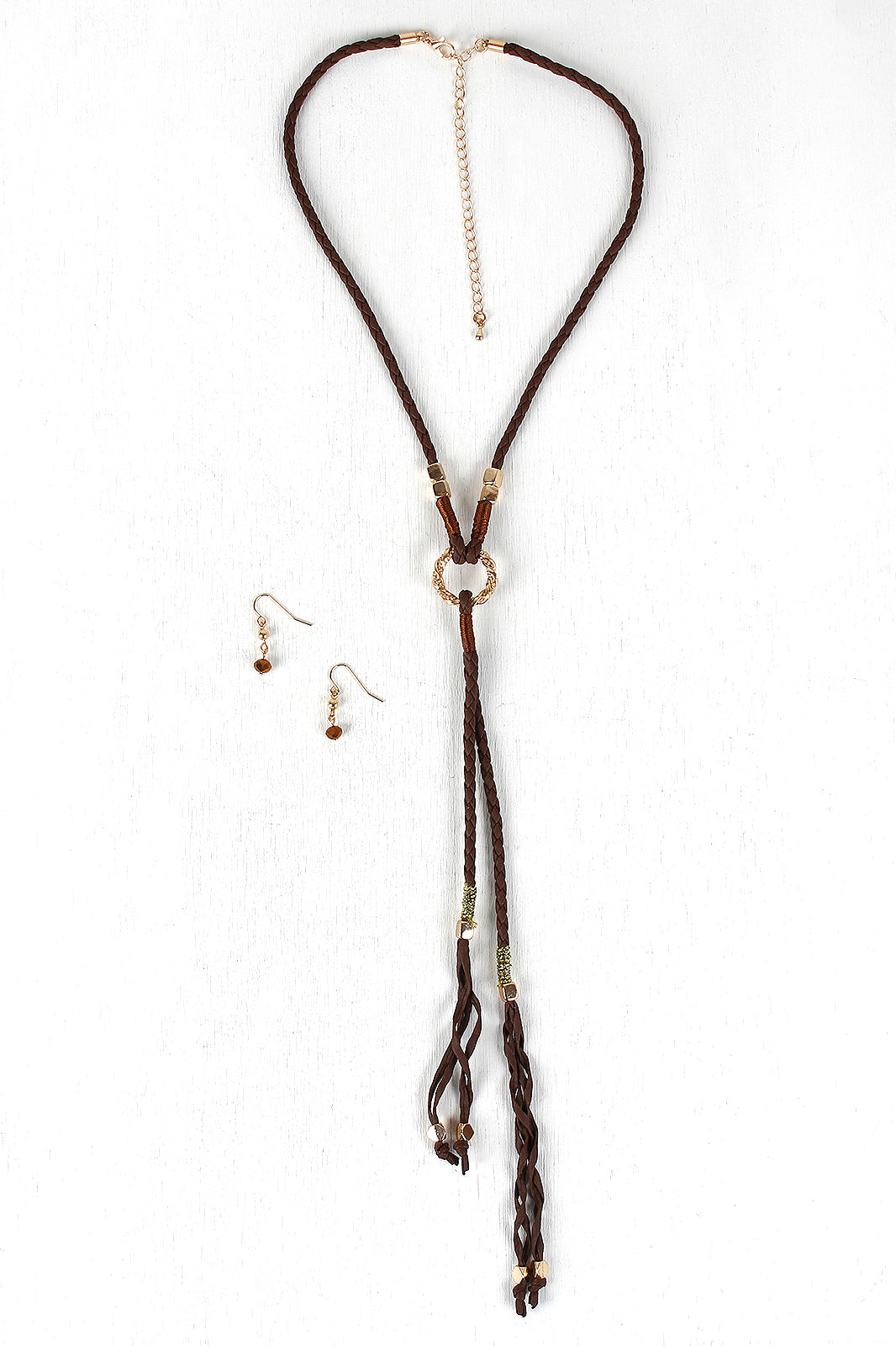 Braided Cube Beads Vegan Leather Necklace Set