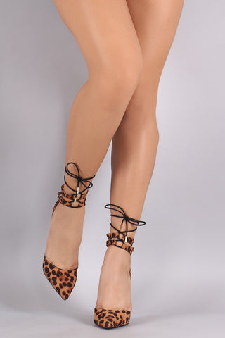 Anne Michelle Leopard Lace Up Pointy Toe Stiletto Pump