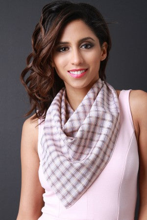 Lightweight Plaid Self-Tie Scarf