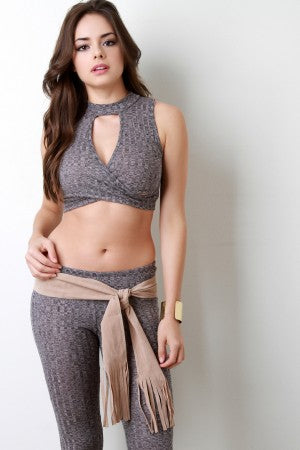 Vegan Suede Self-Tie Sash Belt
