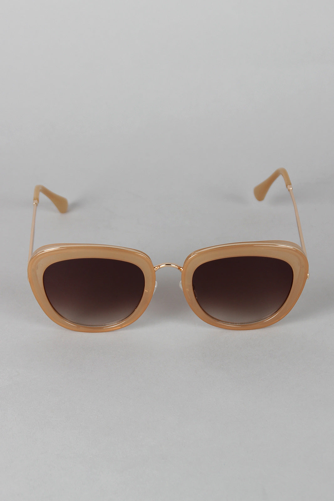 Mod Rectangular Cat Eye Wire Bridge Sunglasses