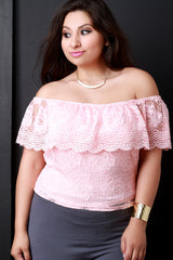 Crochet Floral Lace Off The Shoulder Top