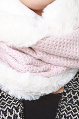 Faux Fur and Knitted Circle Scarf