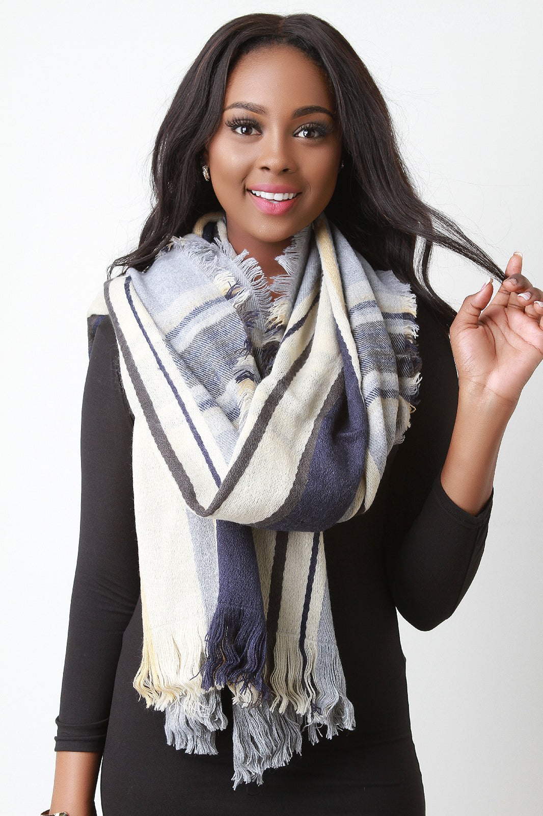 Woven Plaid Over Sized Fringe Hem Scarf