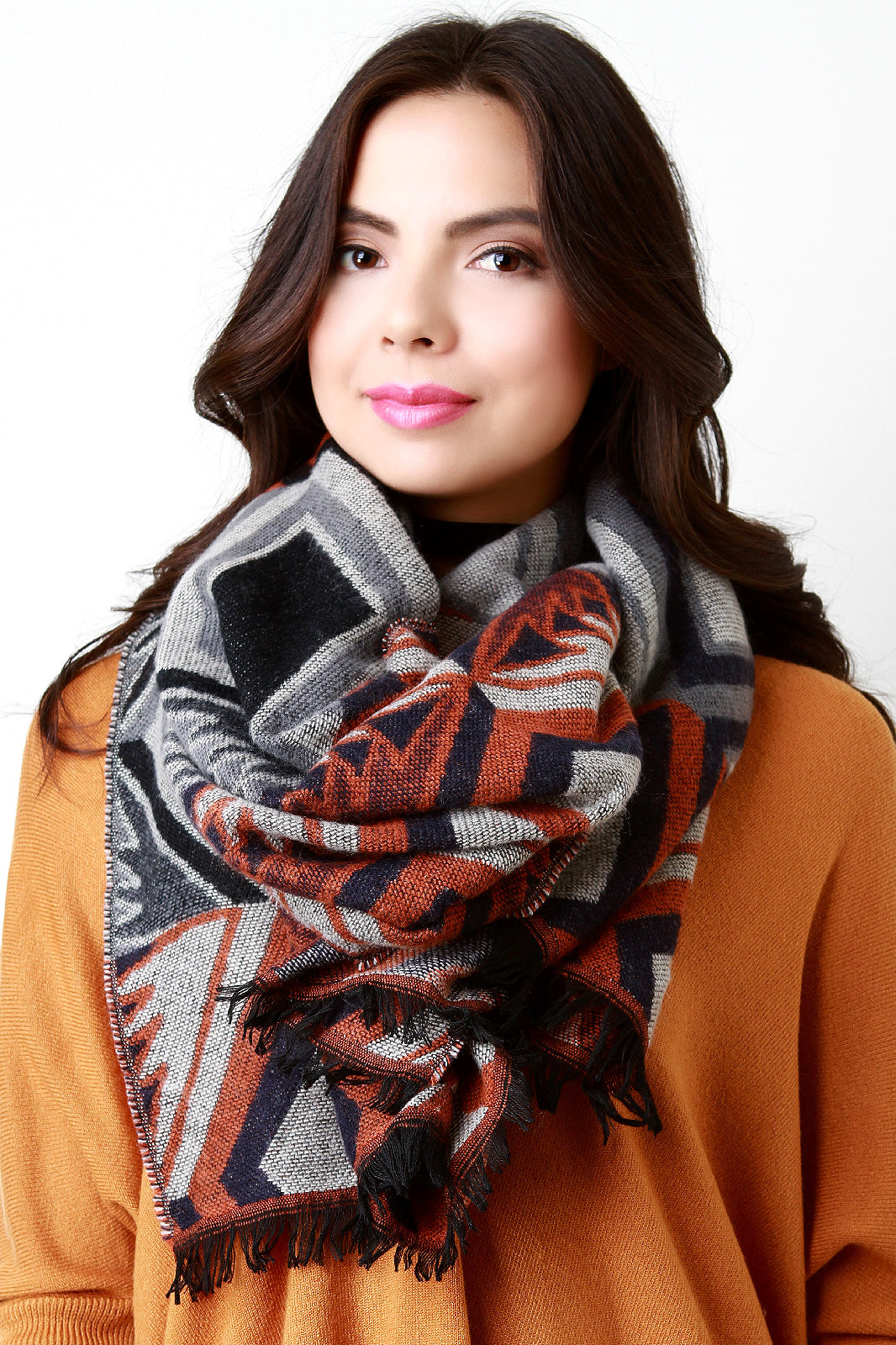 Aztec Soft Knit Lightweight Scarf