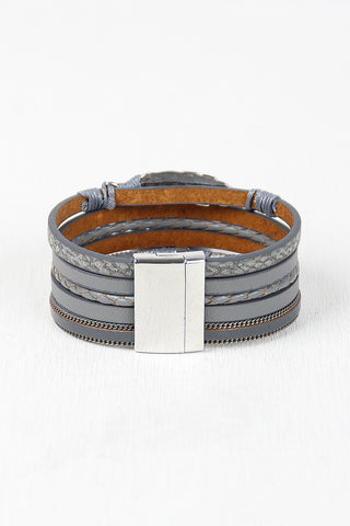 Vegan Leather Multi Band Cuff Bracelet