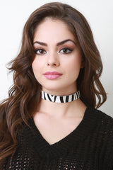Zebra Printed Fur Choker Set