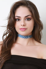 Paisley And Floral Print Denim Choker