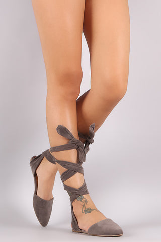 Bamboo Suede Leg Wrap Open Back Pointy Toe Flat