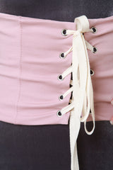 Corset Lace Up Zipper Back Belt