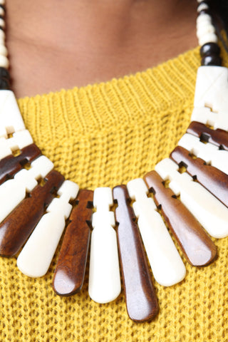 Wooden Ivory Statement Necklace