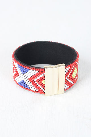Beaded Pattern Band Cuff Bracelet